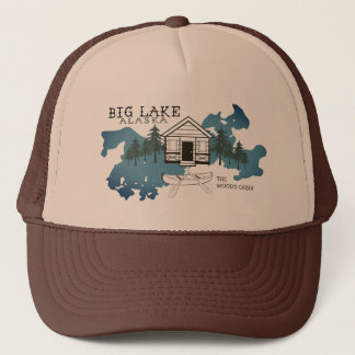 Big Lake Alaska Cabin Trucker Hat