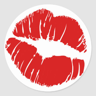 Big large lips kiss giant lips huge kissing mouth classic round sticker