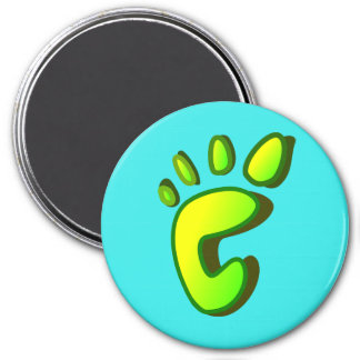 Big Lime Green Footprint 3 Inch Round Magnet