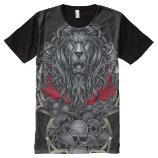 Big Lion and Skulls All-Over Print T-Shirt