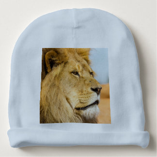 Big lion looking far away baby beanie