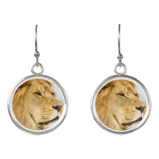 Big lion looking far away earrings