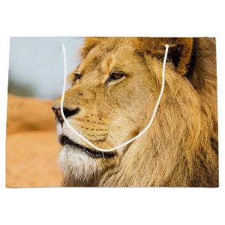 Big lion looking far away large gift bag
