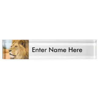 Big lion looking far away name plate