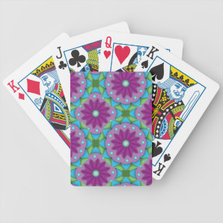 Big Magenta, Pink, and Green Flowers Bicycle Playing Cards