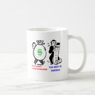 Big Moneybags Mitt Romney versus average Americans Coffee Mugs