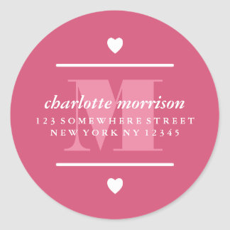Big Monogram Hearts & Lines Pink Classic Round Sticker