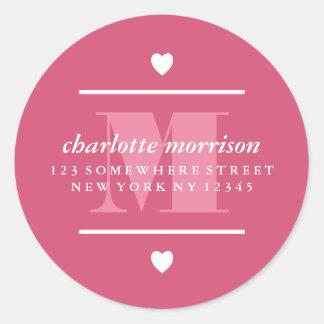 Big Monogram Hearts & Lines Pink Round Sticker
