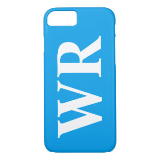 Big Monogram Letters Sky Blue and White Bold Style iPhone 7 Case
