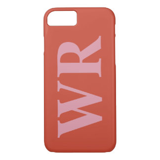 Big Monogram Letters Soft Red and Pink Bold Style iPhone 8/7 Case