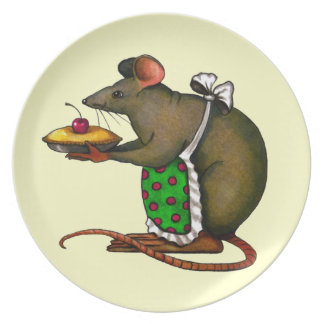 Big Mouse Holding Pie With Cherry on Top: Art Plates