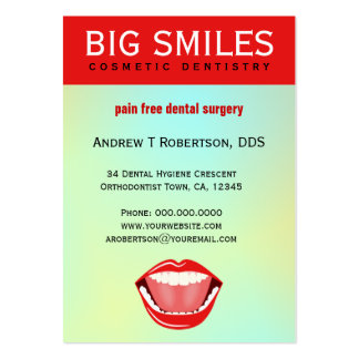 Big Mouth Aqua Large Dental Appointment BizCards Business Card Template