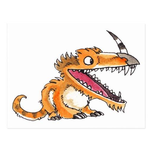 Big-Mouth Orange Monster Postcards