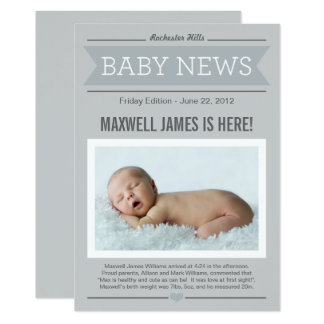 Big News Birth Announcement Card | Gray Photo