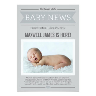 Big News Birth Announcement | Grey & Charcoal
