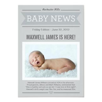 Big News Birth Announcement | Grey & Charcoal 13 Cm X 18 Cm Invitation Card