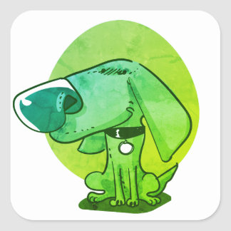 big nose funny dog cartoon square sticker