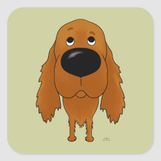 Big Nose Irish Setter Square Sticker