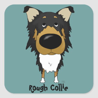 Big Nose Rough Collie Square Sticker