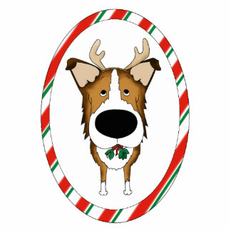 Big Nose Smooth Collie Christmas Ornament Photo Sculpture Decoration
