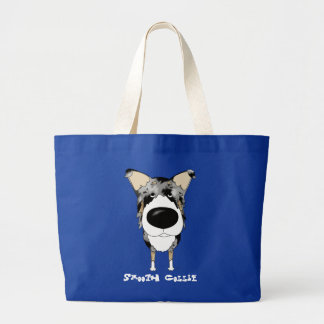 Big Nose Smooth Collie Large Tote Bag