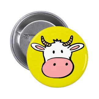Big nosed cartoon cow 6 cm round badge