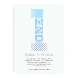 Big Number 1 Stripes Baby Boy 1st Birthday Party 11 Cm X 16 Cm Invitation Card