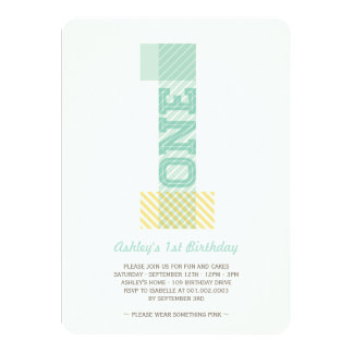 Big Number 1 Stripes Baby Neutral 1st Birthday Announcement