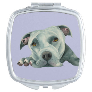 Big Ol' Head - Pit Bull Dog Watercolor Painting Makeup Mirrors