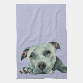 Big Ol' Head - Pit Bull Dog Watercolor Painting Tea Towel