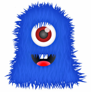 BIG one-eyed blue fuzzy monster Standing Photo Sculpture