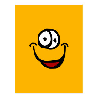 big open mouth cartoon smile face postcard