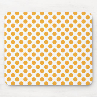 Big Orange Dots on White Mouse Pads