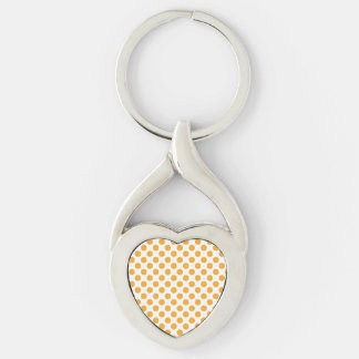 Big Orange Dots on White Silver-Colored Twisted Heart Key Ring