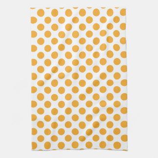 Big Orange Dots on White Tea Towel