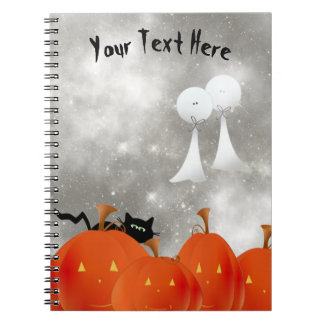 Big Orange Pumpkins Black Cat and Two Ghosts Notebook