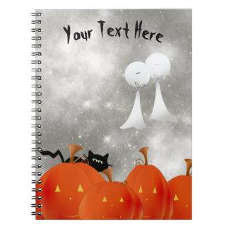 Big Orange Pumpkins Black Cat and Two Ghosts Spiral Notebook