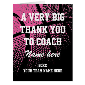 Big oversized pink basketball coach Thank You card