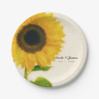 Big Painted Sunflower Rustic Country Party Paper Plate