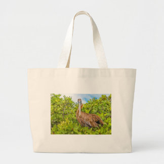 Big Pelican at Tree, Galapagos, Ecuador Large Tote Bag