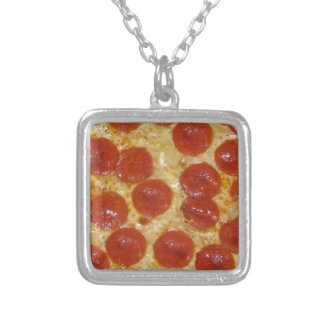 big pepperoni pizza silver plated necklace