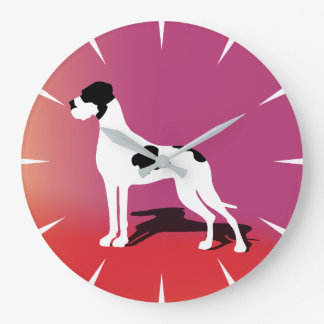 Big Piebald Great Dane Large Clock