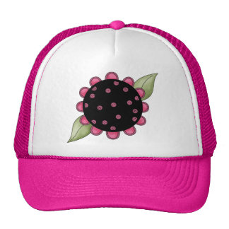 Big Pink and Black Flower Hat