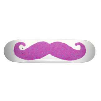 Big Pink and Blue Furry Mustache Custom Skateboard