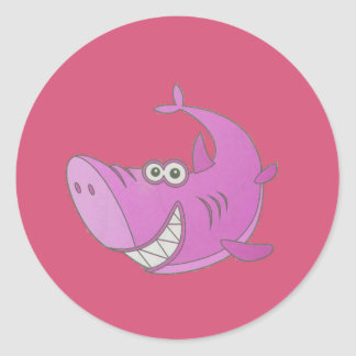 Big Pink Cartoon Shark Classic Round Sticker