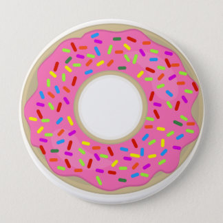 Big Pink Frosted Donut 10 Cm Round Badge