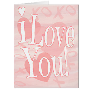 Big Pink I Love You With Hearts 8 x 10 Card