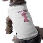 Big Pink Number One, Girl's First Birthday Sleeveless Dog Shirt