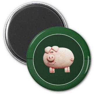 Big Pink Pig 6 Cm Round Magnet