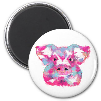 Big pink pig dirty ego 6 cm round magnet